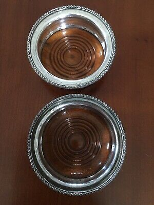 "Wine Glass Coasters, Pair. Vintage condition. Silver Plated  3.5"" 9cm"