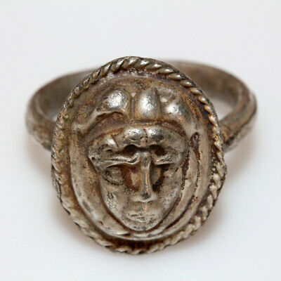 Ancient Greek Silver Ring With Medusa Face Mount Circa 300-100 Bc