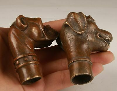 2 Unique Chinese Bronze Hand Casting Dog Walking Stick Head Collection Handle