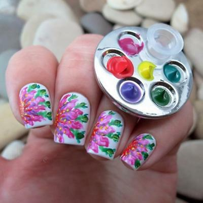 Mini Finger Nail Art Mixing Palette For Free Hand Manicure Ring Nail Tools AL