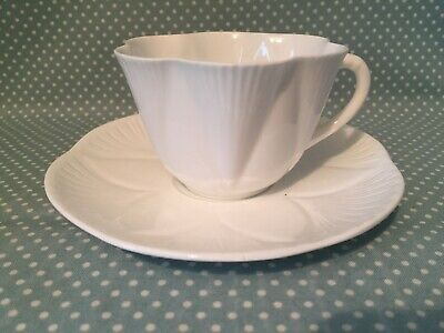 Vintage Shelley China Dainty White design no. 272101. Tea cup & saucer duo.