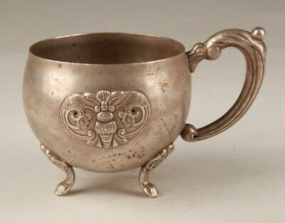 Chinese Old Tibetan Silver Hand Casting Yuan Dynasty Style Cup Collection