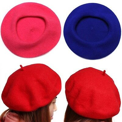 Solid Color Warm Winter Women Girl Beret French Artist Beanie Hat Ski Cap AL