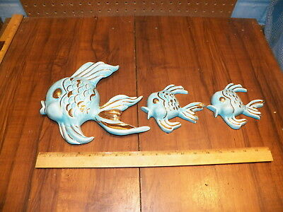 Vintage Ceramic Set of 3 Blue & Gold Fish Hanging Wall Plaques