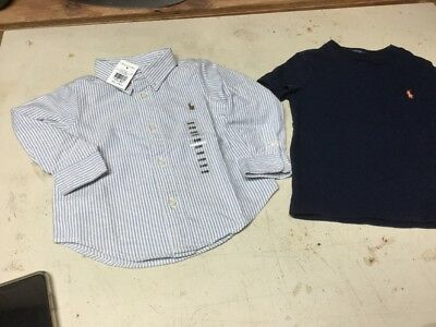 Ralph Lauren Toddler Boys Button Front stripe Shirt New & Polo Pull Over  -24M