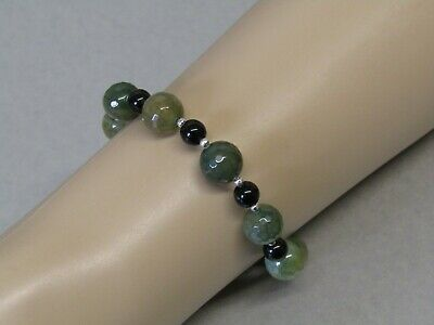 Faceted Green Crackle Agate & Black Agate Stunning Bead Bracelet. Nice!