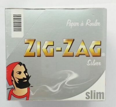 Zig Zag Silver King Size Slim Rolling Papers Full Box = 50 Booklets