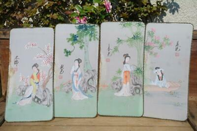 Vintage Japanese Geisha Hand Painted Silk Panels Signed 50s Mid Century Wall Art