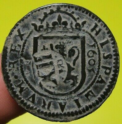 awes 1605 1641 PIRATE COB SPANISH 8 Maravedis Colonial Coin Felipe PHILIP III