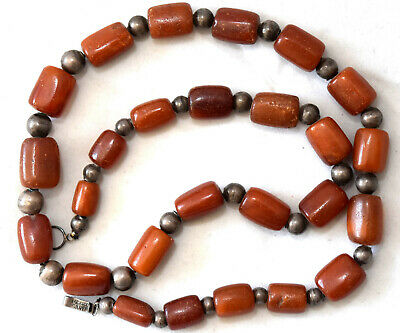 """Antique +100 Years Old Butterscotch Amber Necklace & Sterling Silver Beads 24"""""""