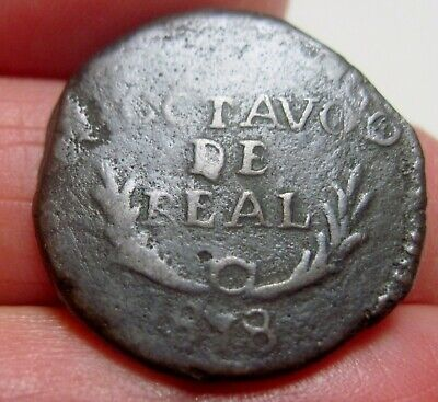 1818 (MEXICO) DURANGO 1/8 REAL OCTAVO(MEXICO) WAR of INDEPENDENCE -FULL DATE