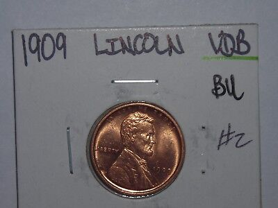 wheat penny 1909 VDB LINCOLN CENT NICE RED BU 1909-P V.D.B LOT #2 RED UNC LUSTER