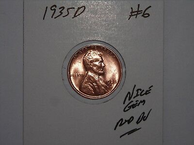 wheat penny 1935D NICE GEM RED  BU 1935-D SHARP GEM RED UNC LINCOLN CENT LOT #6