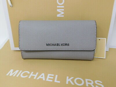 74f188aa7ab4 New MICHAEL Michael Kors Pearl Grey Gray Black Large Trifold Leather Wallet  $168