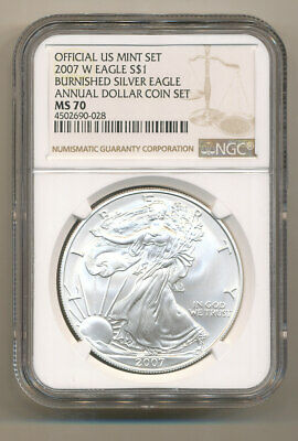 NGC MS70 2007 W ANNUAL Uncirculated Dollar coin Set burnished Silver Eagle