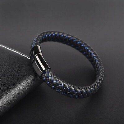 DG Men's Braided Leather Stainless Steel Magnetic Clasp Blue Bracelet Wristband