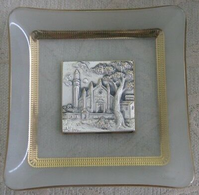 ALLIANI Italy silver 925 MINIATURE RELIEF PICTURE CHURCH glass DISPLAY PLATE