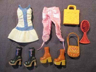 My Scene Barbie Doll Clothes - Boots, Dress, Purses, Pink Pants #204