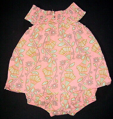 855d0e503 TEA COLLECTION BABY Girl Pink Floral Stripe Romper Outfit Size 9-12 ...