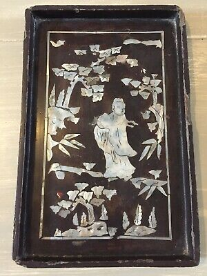 Antique Chinese/Asian Lacquer / Mother of Pearl Inlay Tray
