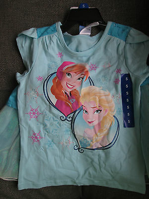 NEW! Frozen cute girl 2 Piece Clothing Set Top & Tutu Skirt Pale Blue Elsa Anna
