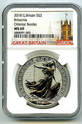 2018 Great Britain 1Oz Silver Ngc Ms69 Britannia Oriental Border Variety