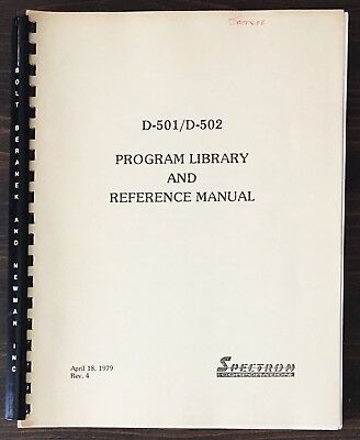 Spectron  D-501 / D-502 Program Library And Reference Manual (1979) Reprint