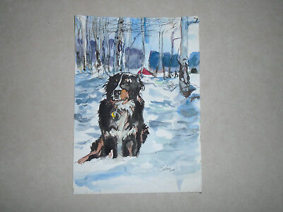 Beautiful Bernese Mountain Dog Crested Butte Colorado Hand Painted Painting Art