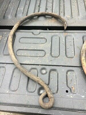"""huge vintage HEAVY metal hook possibly cast - roofing company tool 29"""" x 16"""" x 1"""