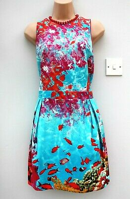 ATMOSPHERE SIZE 14 16 50s STYLE AQUATIC TROPICAL PRINT SLEEVELESS SUMMER DRESS