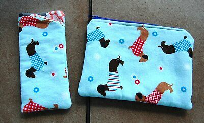 Dachshund Print Cosmetic Bag & Soft Eyeglass Case- AIDS DRSF Rescue Suli