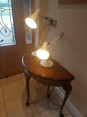 2 Vintage Anglepoise 'Model 90' lamps- white genuine Herbert Terry & Sons