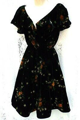 ZARA Velvet Ruffle Mock Wrap Floral Dress Flounce Sleeves Green & Gold  sz 8/10