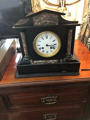 Antique Black Slate And Mixed Brown Marble Inlaid Clock