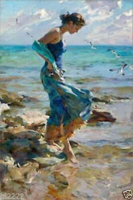 LMOP903 the blue dress lady in seaside&flying birds art oil painting on canvas