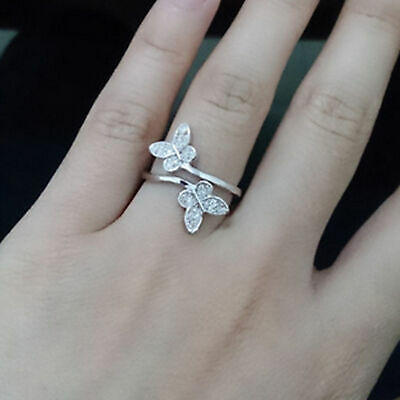925Sterling Silver Open Ring Adjustable Thumb Finger Toe Butterfly Women fashion