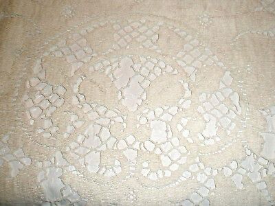 Vintage Lace Tablecloth Off White 66 x 80