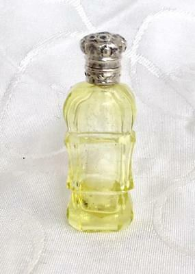 Antique French Miniature Uranium Glass Perfume Scent Bottle Silver Lid C1880