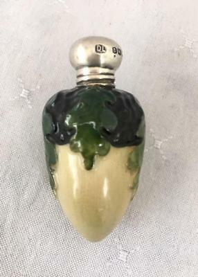 Rare Antique Porcelain Acorn Form Perfume Scent Bottle Silver Lid 1920