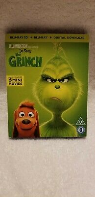 Dr. Seuss THE GRINCH (2019, UK Region Free Blu-ray + Digital) *3D DISC REMOVED*