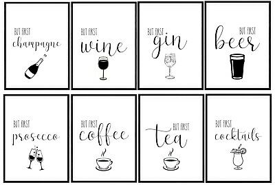 But First Coffee Tea Print Wall Art Kitchen Home Bar Decor Drinks Alcohol Gift