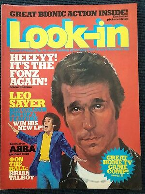 Look-In Comic # 44 29Th October 1977 Fonz Happy Days Space 1999 Gerry Anderson.