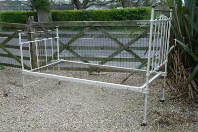 Antique Four Poster Single Bed Victorian Art Nouveau Brass And Iron Rustic Chic