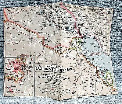 Old 1959 National Geographic Vintage Map Lands of Eastern Mediterranean FREE S/H