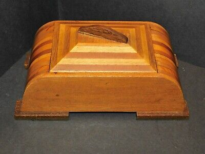 Domed Marquetry Inlaid Striped Wooden Art Deco Box With Lid Felt-Lined