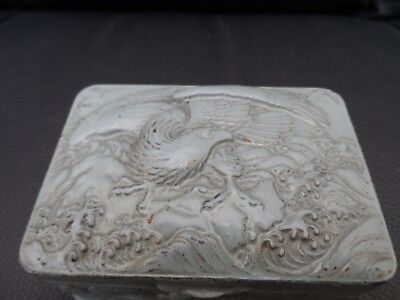 stunning Antique oriental metal box signed with characters Dragons Bird of Prey