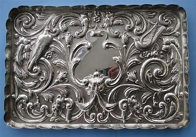 A Superb Quality Victorian Pictorial Solid Silver Card Tray Hallmark London 1900