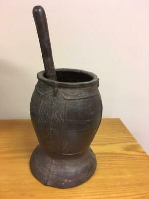 Antique Cast Iron Mortar and Pestle 15 lbs TOTAL Large
