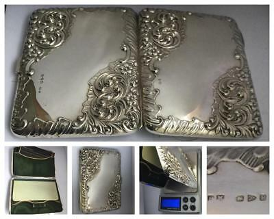 A Beautifully Engraved Victorian Silver Card Case/Aide Memoire Hm Chester 1898