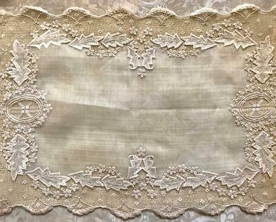 Beautiful Antique Victorian Linen Tray Cloth Or Runner, Cutwork Embroidery